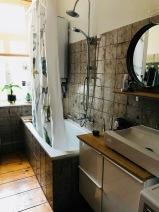 Badezimmer mit Dino Duschvorhang / Altbau
